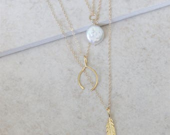 Coin Pearl Necklace - 14k Gold Filled or Sterling Silver - June Birthstone Jewelry