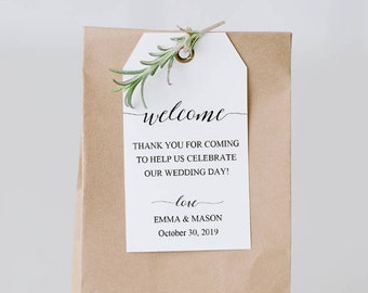 Wedding welcome gift tags set of 10 for Tags for gift bags template