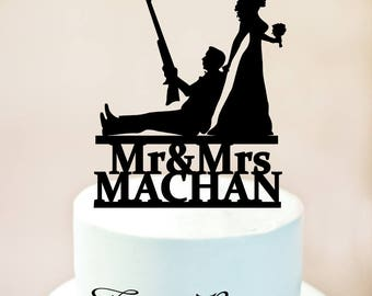 HUNTER Wedding Cake Topper, Wedding Cake Topper with guns, Wedding Cake Topper, Gunsters Wedding, Silhouette Topper,Our Hunt is Over (1142)