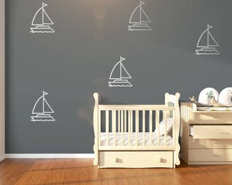 6 Large Boat Silver Nursery Wall Stickers