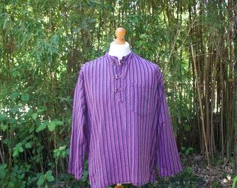 Vintage Hippie Striped Long Sleeved Top - Size Medium