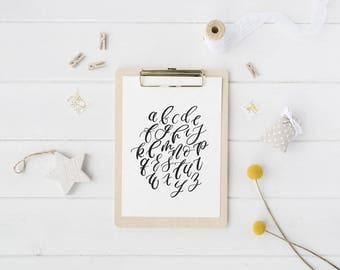 ABC's Print // Nursery Art // Nursery Print // Mustard // Teal // Gender Neutral Print // Handlettered ABC's // Calligraphy ABC's