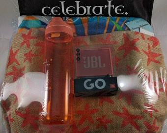 Outdoor Gift Bag (Tote, Beach Towel, Bluetooth Speaker, Water Bottle)