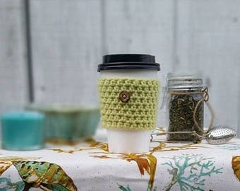 Light Green Crochet Cup Sleeve - Island Tourist Button Everyday Cup Sleeve in Soft Fern