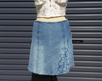 SALE: Denim A-Line Skirt - 90's style