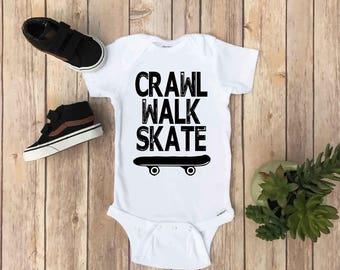 Crawl Walk Skate - Crawl Walk Skate Onesie®, Skateboard Onesie®, Baby Boy Onesie®, Funny Baby Onesie®, Baby Boy Shirt, Baby Boy Clothes