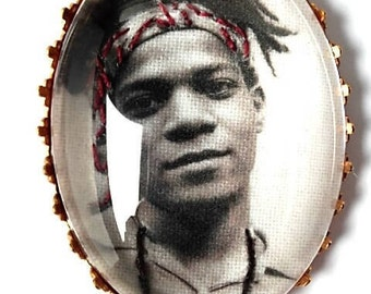 Jean-Michel Basquiat hand embroidered brooch