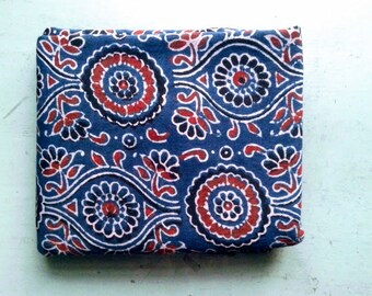 FABRIC/cotton/Coupon/AJRAKH print/ 138 x 110 cm/Made in India/Hand block print/Flower print/Gujarat/Indigo/Free Shipment