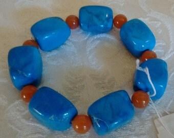 Semi-Precious Stone Bracelet: Blue Howlite/Agate