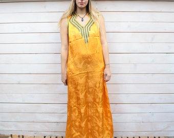 Vintage Orange Indian Maxi Dress