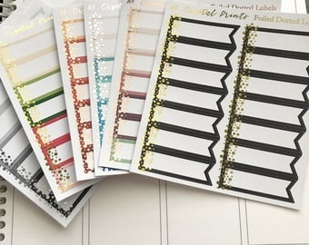 Foiled Dotted Label Stickers || 14 Stickers