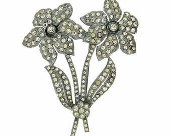 1930s Floral Rhinestone Vintage Brooch