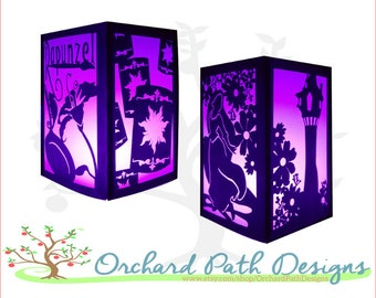 Rapunzel Tangled Paper Lantern for Disney themed wedding, shower, birthday, party centerpieces, decorations, with Rapunzel, tower, lanterns