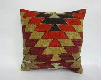 Turkish Handmade Kilim Pillow,16x16 inches,30x40cm, Anatolian Turkish Handwoven Tribal Kilim Pillow Cover