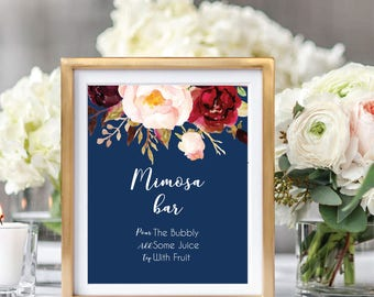 Mimosa Bar Sign, Bubbly Bar Sign, Wedding Bar Sign, Mimosa Bar Printable,Printable Wedding Sign, Boho Chic, Foral Watercolor, Burgundy #A004
