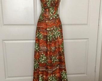 Vintage 1950's DeWeese Designs Maxi Dress w/ Bullet Bra Retro Bombshell Vamp XXS