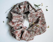Crocus Maroon/Grey Block Printed Infinity Scarf // Chambray // Floral Pattern Scarf