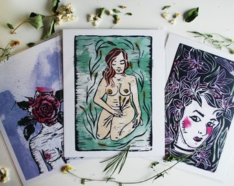 Watercolour + Linocut Ladies Print Series // Individual Prints