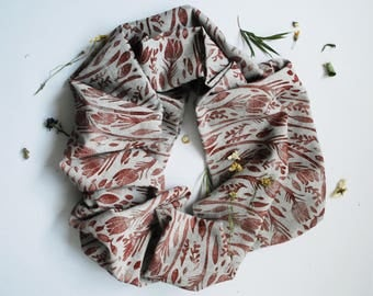 Crocus Maroon/Grey Block Printed Infinity Scarf // Chambray // Floral Pattern Scarf