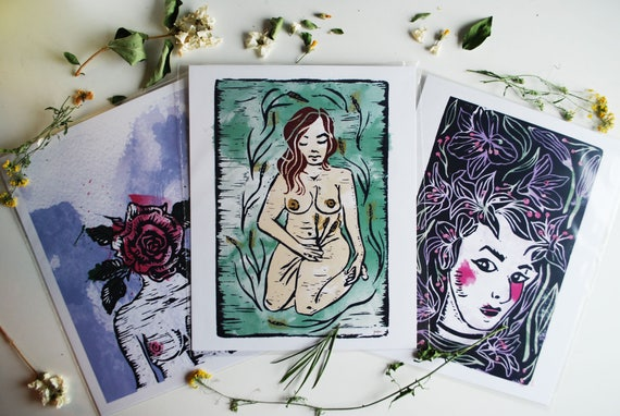 Watercolour + Linocut Ladies Print Series // Individual Prints