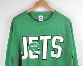 DROP SALE 17% OFF Jets Football Team Sweatshirts Chest Scrpts Sign Color Contrast
