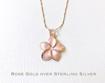 Rose Gold over Sterling Silver plumeria necklace, Plumeria necklace, Hawaiian necklace, Plumeria jewelry, Flower necklace,Bridesmaid gift,