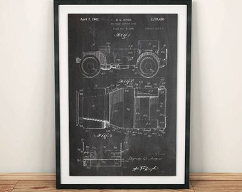 Willy's Jeep WWII Military Vehicle Body Patent Art Poster