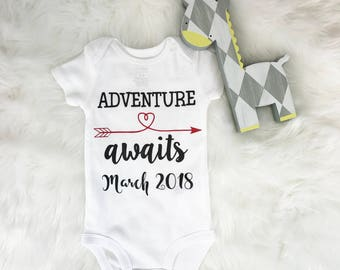 Pregnancy announcement Onesie®, Pregnancy picture, Pregnancy reveal to family, for couple, Adventure await, Pregnancy announcement bodysuit