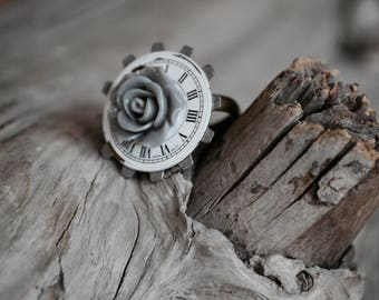 Handmade Jewelry. Ring. Steampunk jewelry. Steampunk ring. Sky Blue Ring. Blue Flower Ring. Unique Ring. Watch Gear ring. Gift