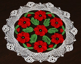 Crochet Doily with Poppies Red Poppies Housewarming Gift Home Decor Table Topper Lace Doily Bohemian Decor Crochet Flowers Remembrance Day