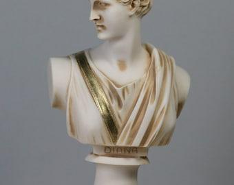"ARTEMIS DIANA Bust Head Greek Roman Goddess Statue Handmade Sculpture 5.91"" - 15 cm *Free Shipping & Free tracking Number**"
