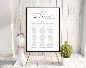 Printable seating chart, wedding seating plan, Wedding sign, Wedding table plan, Elegant wedding decorations