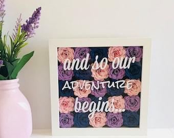 Personalized Wedding - Adventure Begins - Wedding Shadow Box - Wedding Paper Flower Frame - Wedding Floral Frame - Engagement Frame