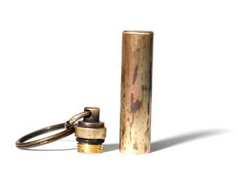Brushed Brass Bullet Pill Box Bottle Stash Capsule Key-chain / Key-ring