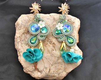 soutache earrings lime green, soutache, soutache jewelry, handmade earrings, soutache jewels, long earrings, soutache embroidery