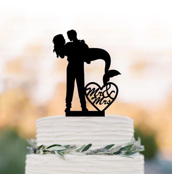 Mr And Mrs In Heart Wedding Cake Topper Mermaid Silhouette