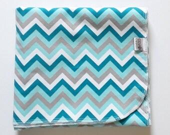 Aqua Chevron Flannel Receiving Blanket; Baby Blanket; Flannel Blanket; Baby Boy Blanket; Blue Blanket