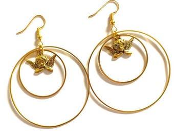 Double Hoops Angel Earrings
