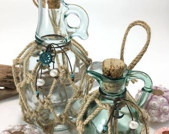 nautical bottles fishermans net decor nautical decor beach cottage decor anchor decor - Cottage Beach Decor