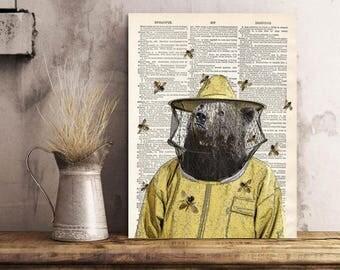 Bear The Beekeeper Print, Brown bear Art Print, Bear wall art, Beekeeper, vintage dictionary page book art print.