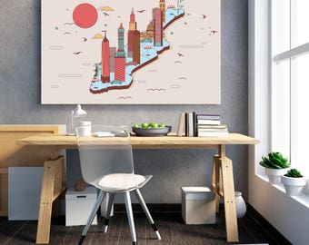 MANHATTAN New York City Map Poster, Minimalism Poster, NYC Map Print