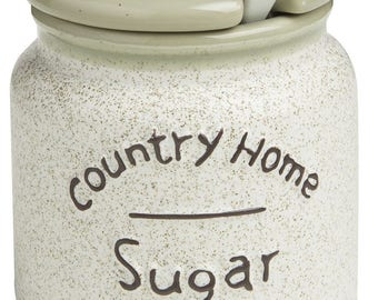 Sugar Bowl with spoon Country Home 8.5 X 8.5 X 9.5 cm