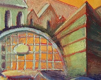 Original gouache painting of Manchester UK