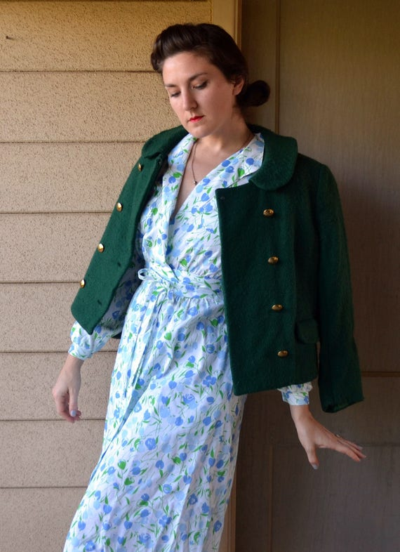 Garland Greenery Jacket | vintage 60's green wool jacket | small