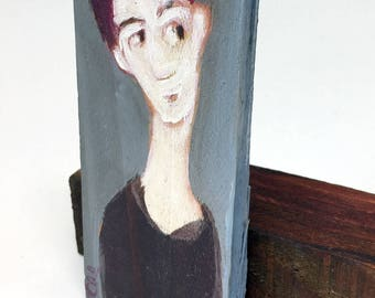 Small painting on wood, decorative gift - gift for her on a blue background