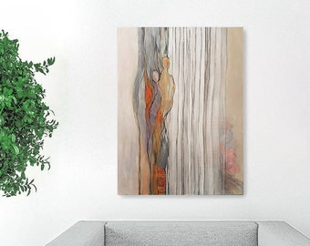 Acrylic Painting Abstract, Large Painting, Woman Painting, Acrylic Painting On Canvas, Original Painting Abstract, Gray Painting, Wall Art