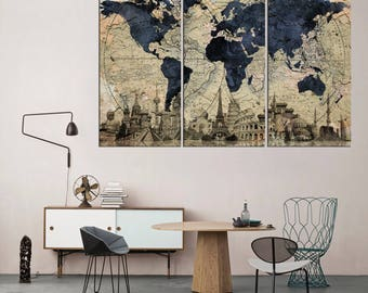 Old world art etsy vintage world map wall art on canvas sets 3 pieces old world map canvas print gumiabroncs Gallery