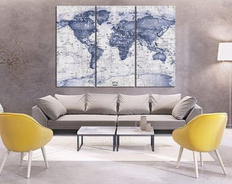 Blue World Map Wall Art Canvas Print 3 Panel Old Large