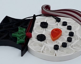 Quilling Snowman Face Ornament for your Christmas tree, windows, rear view mirror, packages. Includes Free Gift Package,