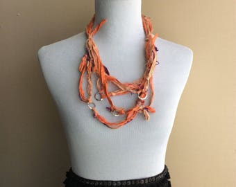Ribbon scarf necklace